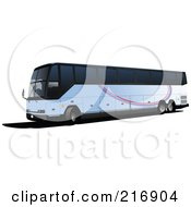 Royalty Free RF Clipart Illustration Of A Long Tourist Bus With Stripes On The Side by leonid