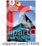 Royalty Free RF Clipart Illustration Of A Blue Double Decker Bus Passing A Building On A Grungy Red And Blue Number Background by leonid