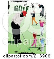 Royalty Free RF Clipart Illustration Of Golfers Over Green With Halftone Dots And Golf Text by leonid