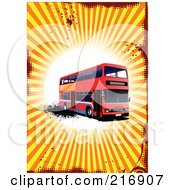 Royalty Free RF Clipart Illustration Of A Red Double Decker Bus On A Grungy Halftone Splatter And Burst Background by leonid