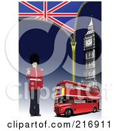 Royalty Free RF Clipart Illustration Of A Guard Standing By A Double Decker Big Ben A Zipper And Flag by leonid
