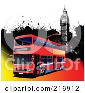Royalty Free RF Clipart Illustration Of A Double Decker Bus Over A Grungy Colorful Background With Big Ben by leonid