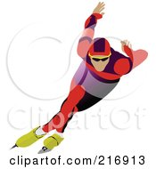 Royalty Free RF Clipart Illustration Of A Speed Skater In Action 4 by leonid