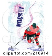 Royalty Free RF Clipart Illustration Of A Hockey Players Over A Grungy Blue Background With Ice Hockey Text 1 by leonid