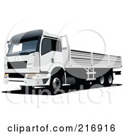Royalty Free RF Clipart Illustration Of A White Lorry Truck by leonid