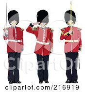 Royalty Free RF Clipart Illustration Of A Digital Collage Of Three Guards by leonid