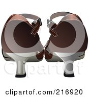 Royalty Free RF Clipart Illustration Of A Rear View Of Brown Heeled Shoes