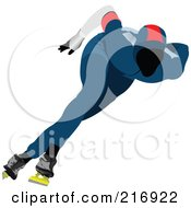 Royalty Free RF Clipart Illustration Of A Speed Skater In Action 5 by leonid