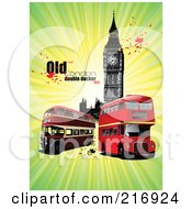 Royalty Free RF Clipart Illustration Of Double Decker Buses Near Big Ben With Text And Splatters On Green by leonid