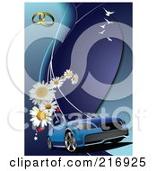 Blue Cabriolet Car On A Blue Background With Daisies Rings And Birds