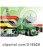 Royalty Free RF Clipart Illustration Of A Green Big Rig With Navigation Lines Traffic Lights And Skyscrapers by leonid