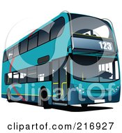 Royalty Free RF Clipart Illustration Of A Blue Double Decker Bus With Numbers On The Front by leonid