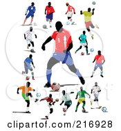 Royalty Free RF Clipart Illustration Of A Digital Collage Of Active Soccer Players 4