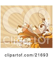Clipart Picture Illustration Of Five Shooting Stars With Speed Trails With Circles And Vines Over A Tan Background by OnFocusMedia