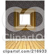 Royalty Free RF Clipart Illustration Of A Wood Floor With A Wall Of Gray Spirals And A Blank Frame by Arena Creative