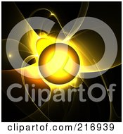 Royalty Free RF Clipart Illustration Of A Glowing Yellow Sun With Fractal Flares On Black by Arena Creative