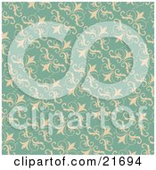 Clipart Picture Illustration Of A Vintage Turquoise Background Of Beige Flourishes by OnFocusMedia
