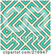 Royalty Free RF Clipart Illustration Of A Funky Seamless White Turquoise And Brown Maze Background