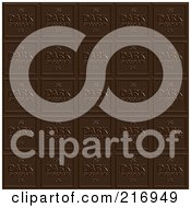 Royalty Free RF Clipart Illustration Of A Background Of Dark Chocolate Squares