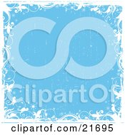 Clipart Picture Illustration Of White Vines And Sparkles Over A Grunge Blue Background