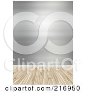 Royalty Free RF Clipart Illustration Of A Wood Floor With A Wall Of Silver Wallpaper by Arena Creative
