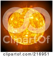 Royalty Free RF Clipart Illustration Of A Fiery Sun With Heat by Arena Creative