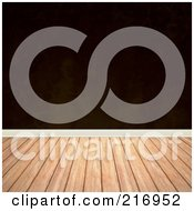 Royalty Free RF Clipart Illustration Of A Wood Floor With A Dark Brown Wall by Arena Creative