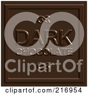 Royalty Free RF Clipart Illustration Of A Dark Chocolate Square With Text On It by Arena Creative