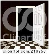 Royalty Free RF Clipart Illustration Of A Open Doorway With A Dark Brown Wall And Checkered Floor by Arena Creative