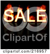 Royalty Free RF Clipart Illustration Of A Flaming Sale Word On Reflective Black