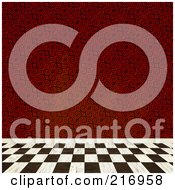 Royalty Free RF Clipart Illustration Of A Checkered Floor And A Wall Of Red Spiral Wallpaper by Arena Creative