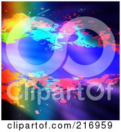 Royalty Free RF Clipart Illustration Of A Background Of Colorful Splatters With A Break For Copyspace