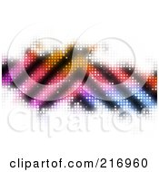 Royalty Free RF Clipart Illustration Of A Pointed Stripes On Colorful Halftone Bar On White
