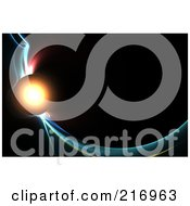 Royalty Free RF Clipart Illustration Of A Glowing Planet On Colorful Fractal Swooshes Over Black
