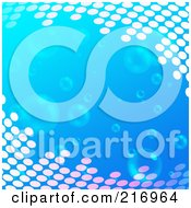Royalty Free RF Clipart Illustration Of A Blue Background With Floating Bubbles And Halftone Corners by Arena Creative
