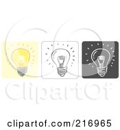 Royalty Free RF Clipart Illustration Of A Digital Collage Of Three Lightbulb Icons In Color Sketch Style And Black And White by Qiun