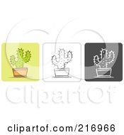 Royalty Free RF Clipart Illustration Of A Digital Collage Of Three Cactus Icons In Color Sketch Style And Black And White by Qiun