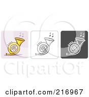 Royalty Free RF Clipart Illustration Of A Digital Collage Of Three Horn Icons In Color Sketch Style And Black And White