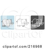 Royalty Free RF Clipart Illustration Of A Digital Collage Of Three Elephant Icons In Color Sketch Style And Black And White by Qiun