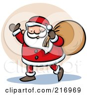 Royalty Free RF Clipart Illustration Of A Cartoon Santa Walking And Waving With His Bag