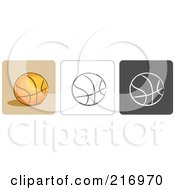 Royalty Free RF Clipart Illustration Of A Digital Collage Of Three Basketball Icons In Color Sketch Style And Black And White by Qiun