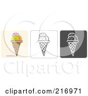 Royalty Free RF Clipart Illustration Of A Digital Collage Of Three Ice Cream Cone Icons In Color Sketch Style And Black And White by Qiun