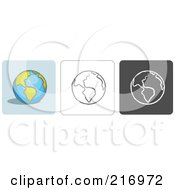 Royalty Free RF Clipart Illustration Of A Digital Collage Of Three Globe Icons In Color Sketch Style And Black And White