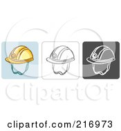 Royalty Free RF Clipart Illustration Of A Digital Collage Of Three Helmet Icons In Color Sketch Style And Black And White by Qiun