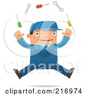 Royalty Free RF Clipart Illustration Of A Jumping Engineer Juggling Tools by Qiun