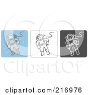 Royalty Free RF Clipart Illustration Of A Digital Collage Of Three Astronaut Icons In Color Sketch Style And Black And White by Qiun