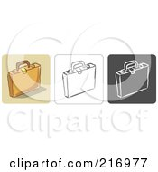 Royalty Free RF Clipart Illustration Of A Digital Collage Of Three Briefcase Icons In Color Sketch Style And Black And White by Qiun