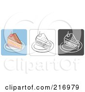 Royalty Free RF Clipart Illustration Of A Digital Collage Of Three Cake Icons In Color Sketch Style And Black And White by Qiun