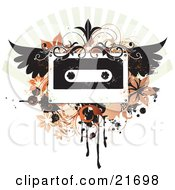 Musical Clipart Picture Illustration of a Winged Cassette Tape With Flourishes, Flowers And Scrolls On A Grunge Background by OnFocusMedia