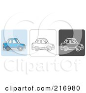 Royalty Free RF Clipart Illustration Of A Digital Collage Of Three Car Icons In Color Sketch Style And Black And White by Qiun